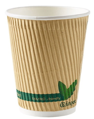 12oz Biodegradable Compostable Brown Triple Layer Ripple Coffee Cups
