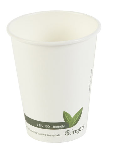 12oz Biodegradable Compostable White Leaf Single Wall Coffee Cups