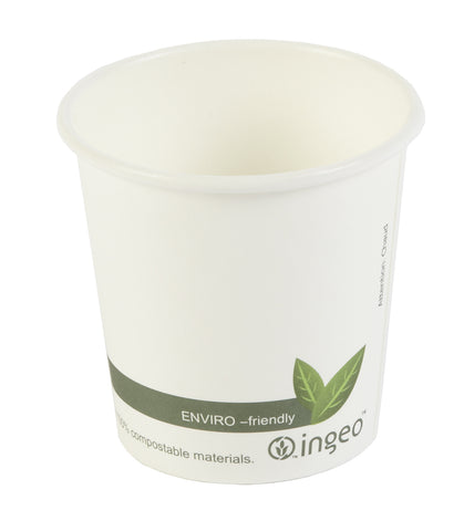 4oz Biodegradable Compostable White Leaf Single Wall Coffee Cups