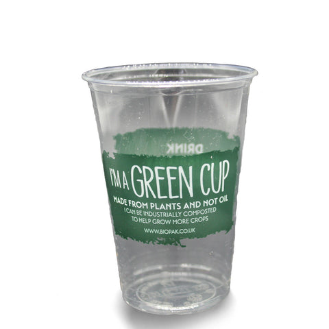 "Compostable ""I'm a Green Cup"" Clear PLA CE Marked Cups - 1/2 Pint"