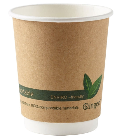 8oz Biodegradable Compostable Brown Double Wall Premium Coffee Cups