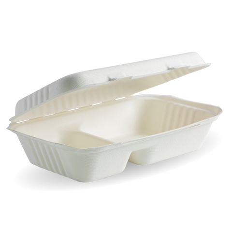 Compostable 2 Compartment BioCane Clamshell