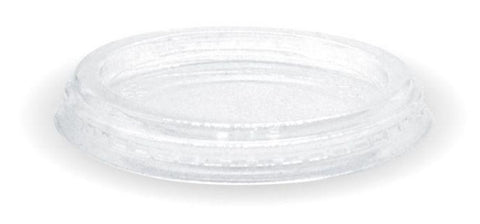 Compostable BioCup Clear PLA Flat Lids For Slim Cold Drinks Cups - Without Holes (76mm Diameter)