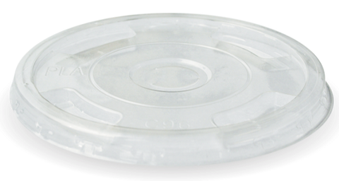 Compostable BioCup Clear PLA Flat Lids For Standard Cold Drinks Cups - With Straw Slot (96mm Diameter)