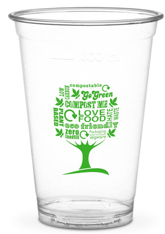 Compostable Green Tree Standard PLA Cold Drinks Cups - 16oz CE Marked