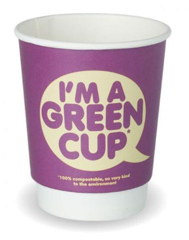 Compostable I'm a Green Cup Double Wall Coffee Cups - 8oz