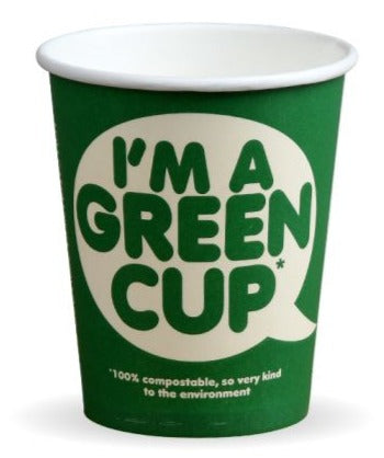 Compostable 'I'm a Green Cup' Single Wall Coffee Cups - 8oz