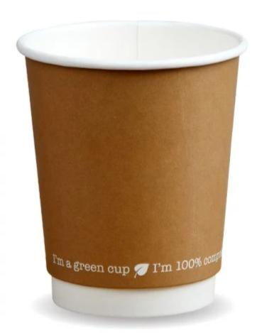 Compostable Kraft Double Wall Coffee Cups - 12oz