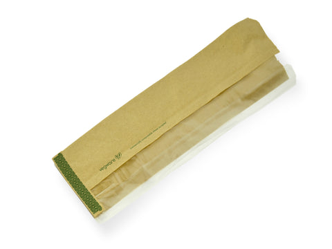 Compostable Kraft Flat Window Baguette Bag