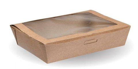 Compostable Kraft Salad Box With Window - Large