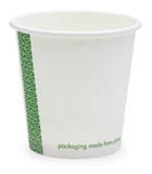 Compostable White Single Wall Coffee Cups - 4oz