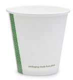 Compostable White Single Wall Coffee Cups - 6oz Slim