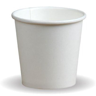 Compostable White Single Wall Takeaway Coffee Cups - 4oz