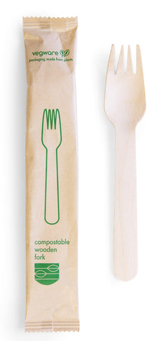 Compostable Wooden Fork - Wrapped