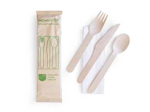 Compostable Wooden Cutlery Kit - Wrapped