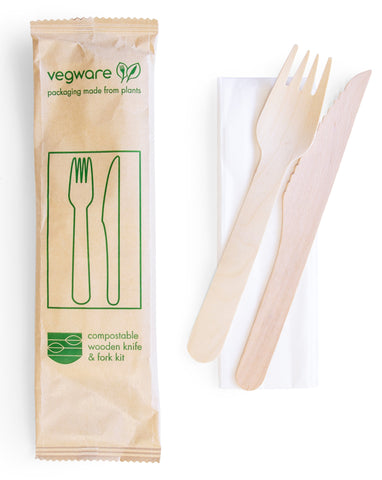 Compostable Wooden Knife and Fork Kit - Wrapped