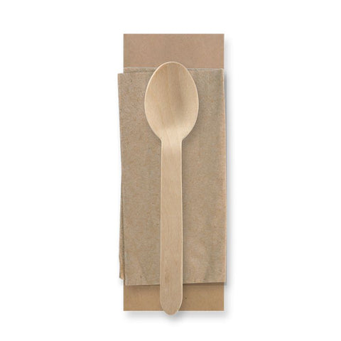 Compostable Wooden Spoon & Napkin Kit - Wrapped