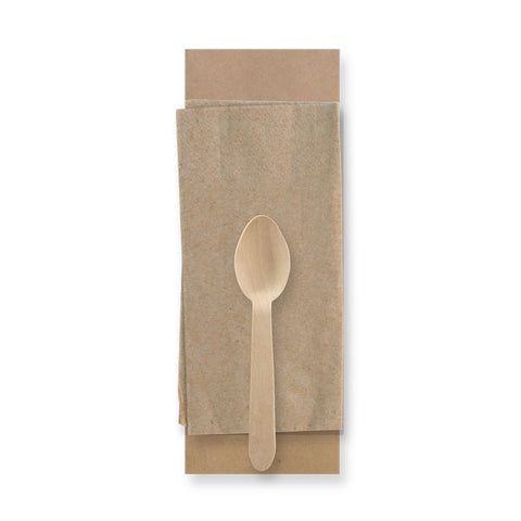Compostable Wooden Teaspoon & Napkin - Wrapped