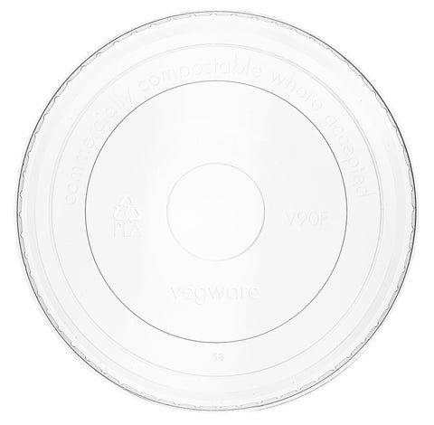 Compostable Clear Flat Lid For Soup / Ice Cream Container - Fits 6oz-10oz Containers (Cold Food Only)