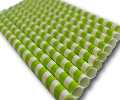 Green & White Stripe Compostable Jumbo Paper Straws - 197mm x 8mm