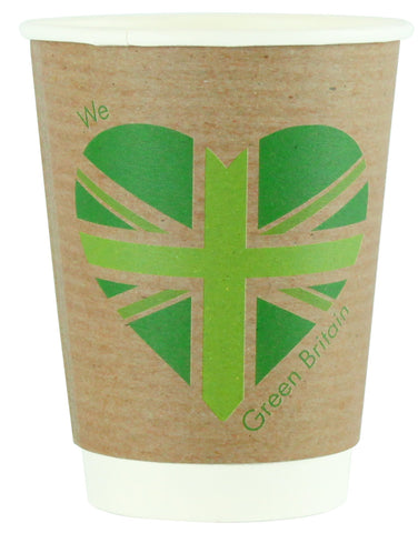 Compostable Green Britain Double Wall Coffee Cups - 12oz
