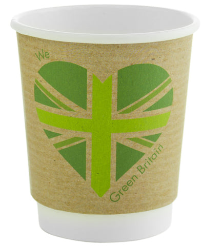 Compostable Green Britain Double Wall Coffee Cups - 8oz