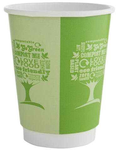 Compostable Green Tree Double Wall Biodegradable Coffee Cups - 12oz