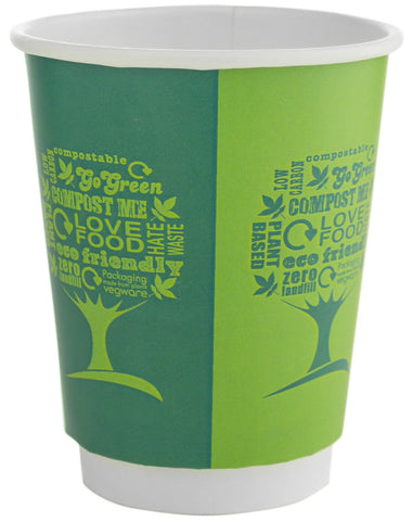 Compostable Green Tree Double Wall Biodegradable Coffee Cups - 8oz