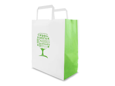 Compostable Green Tree Paper Carrier Bag with Handle - 8.5inch x 10inch