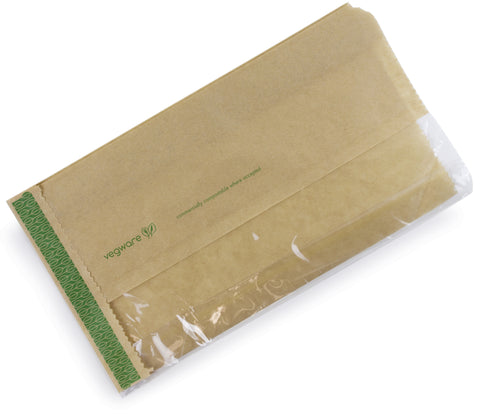 Compostable Kraft Greaseproof Flat Window Bag