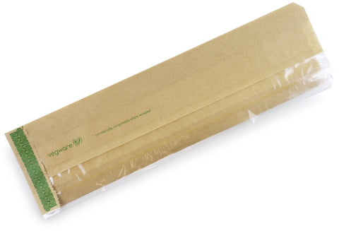 Compostable Kraft Greaseproof Flat Window Baguette Bag