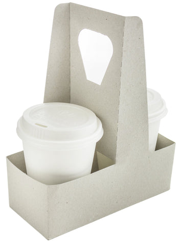 Compostable Kraft Handled Drinks Carrier - 2 Cup
