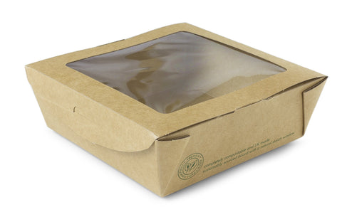 Compostable Kraft Salad Box With Window - Medium