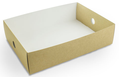 Compostable Kraft Sandwich Platter Box Inserts - 1/2 tray