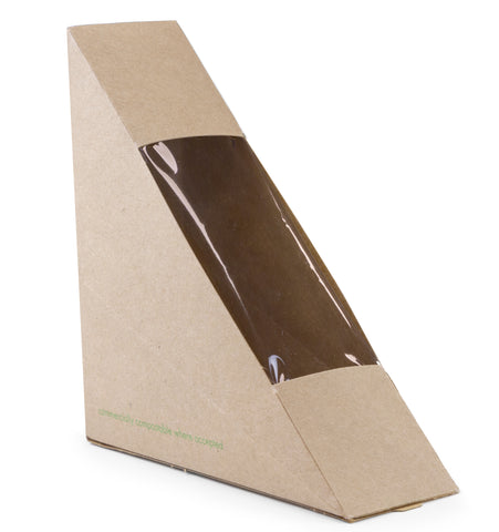 Compostable Kraft Sandwich Wedge - Single