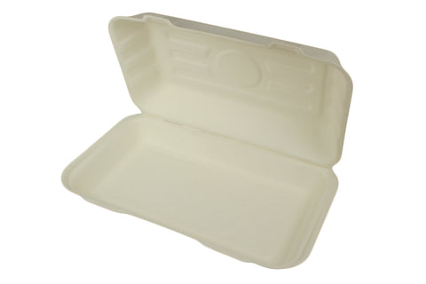 Compostable Sugarcane Rectangular Clamshell Box - Fish & Chips
