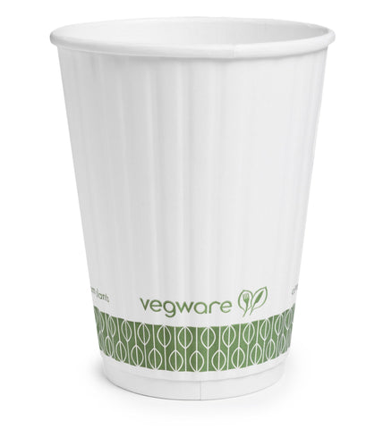Compostable White Embossed Double Wall Biodegradable Coffee Cups - 12oz