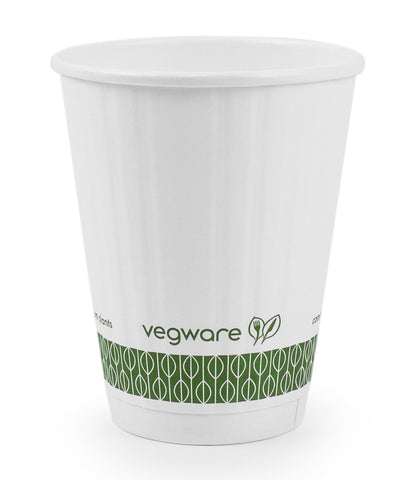 Compostable White Embossed Double Wall Biodegradable Coffee Cups - 8oz