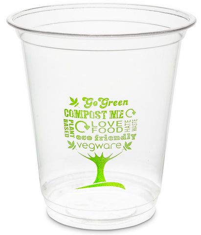 Green Tree Slim Compostable PLA Biodegradable Cold Drinks Cups - 7oz