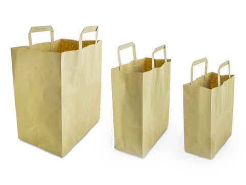 Kraft Brown Carrier Bag with Handle - Small, Medium & Large