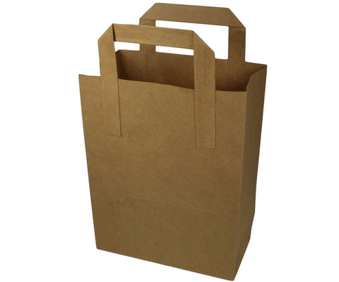 Medium Compostable Kraft Brown Paper Carrier Bag - Outside Fitting Handle