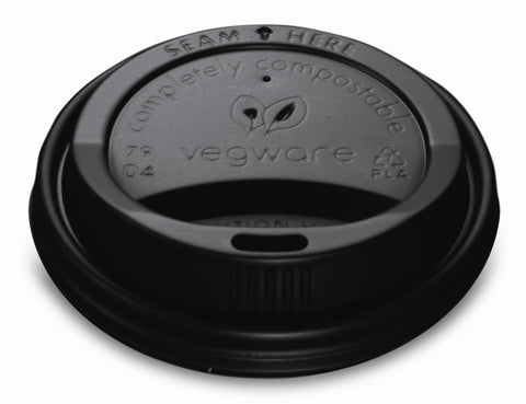 Black Compostable Coffee Cup Lids - 8oz