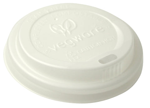 White Compostable Coffee Cup Lids - 6oz (72mm)