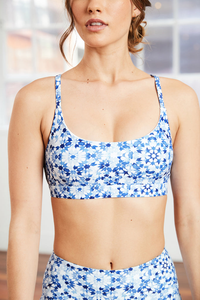 indigo tile yoga bra with classic scoop neckline and optional removal padding