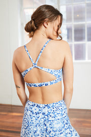 indigo tile printed yoga bra with strappy open back