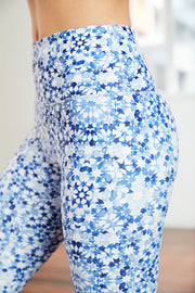 high-rise yoga pant with blue hand painted print and white embroidered logo
