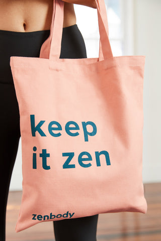 peach coloured cotton canvas tote bag with the slogan 'keep it zen'