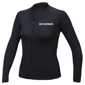 Lemorecn Womens 2mm Neoprene Long Sleeve Jacket Front Zipper Wetsuit Top