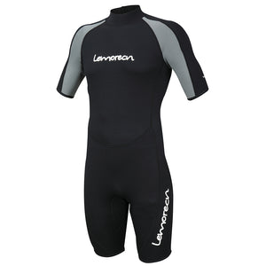 Lemorecn-men's-black-gray-3mm-neoprene-shorty-wetsuits