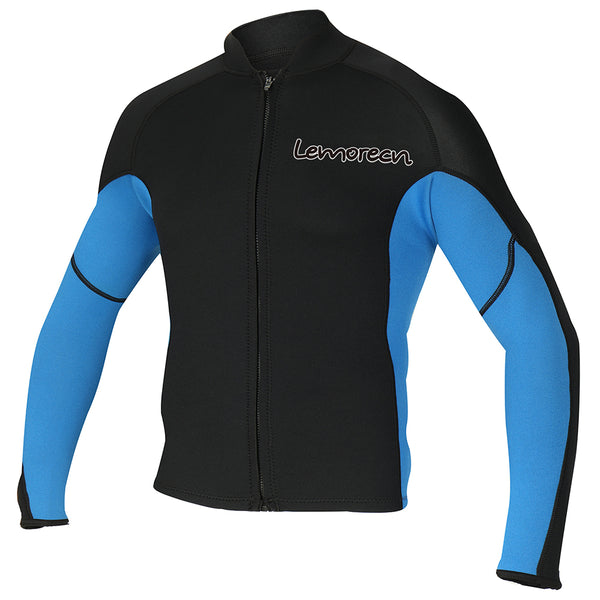 Lemorecn-men's-black-blue-2mm-neoprene-wetsuit-top